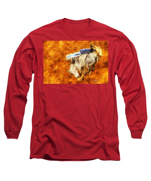 Long Sleeve T-Shirt featuring the painting Eight-second Ride by Greg Collins