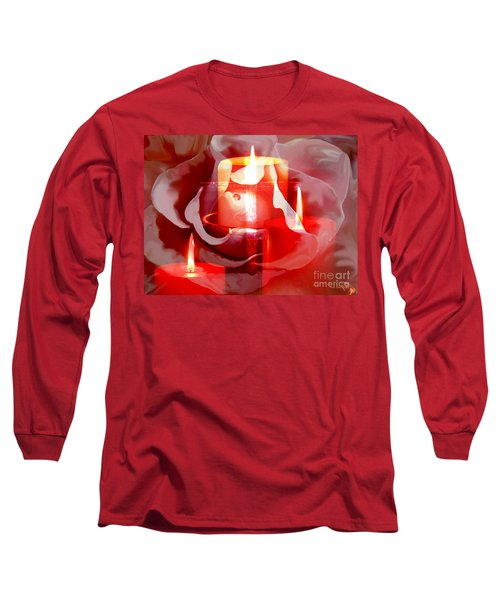 Long Sleeve T-Shirt featuring the painting Rose Cross And Candles by Annie Zeno