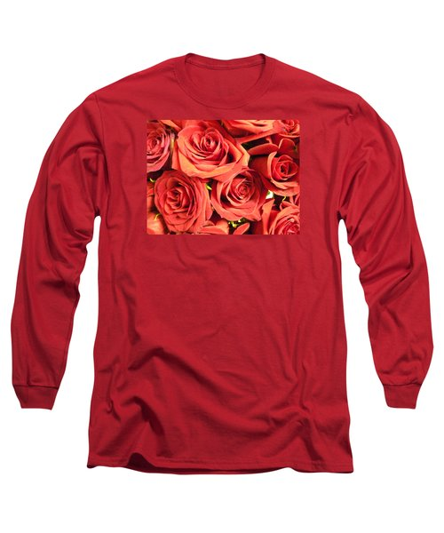 Roses On Your Wall Long Sleeve T-Shirt by Joseph Baril
