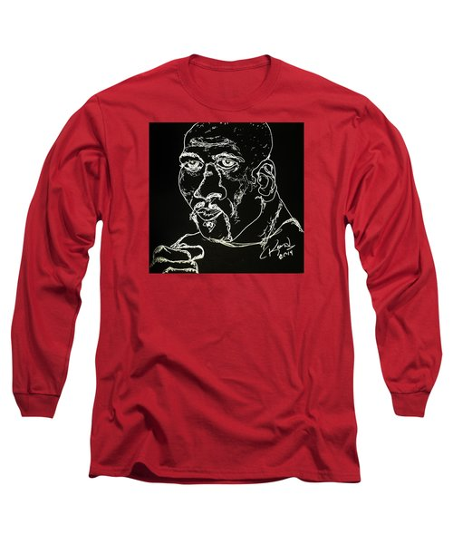 Long Sleeve T-Shirt featuring the drawing Rubin Hurricane Carter by Rand Swift