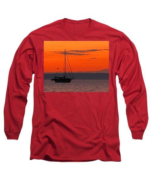 Sailboat At Sunset Long Sleeve T-Shirt