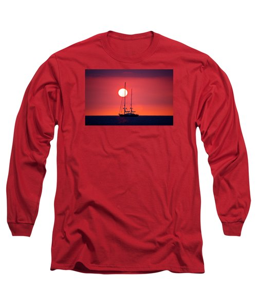 Sailboat Sunset Long Sleeve T-Shirt by Venetia Featherstone-Witty