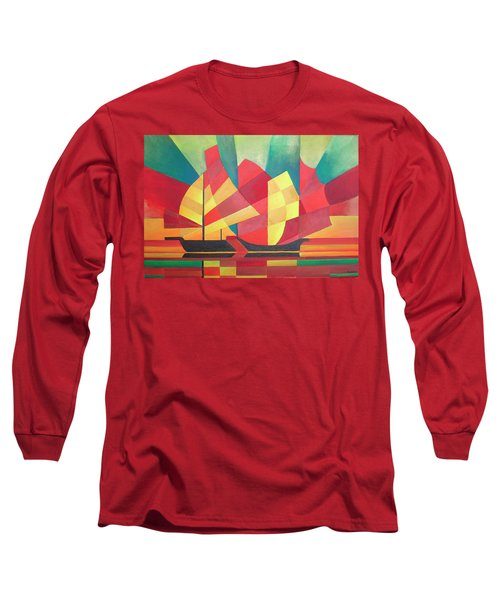 Long Sleeve T-Shirt featuring the painting Sails And Ocean Skies by Tracey Harrington-Simpson