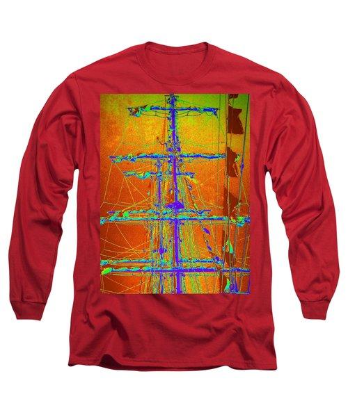 New Orleans Saint Elmo Fire Long Sleeve T-Shirt by Michael Hoard