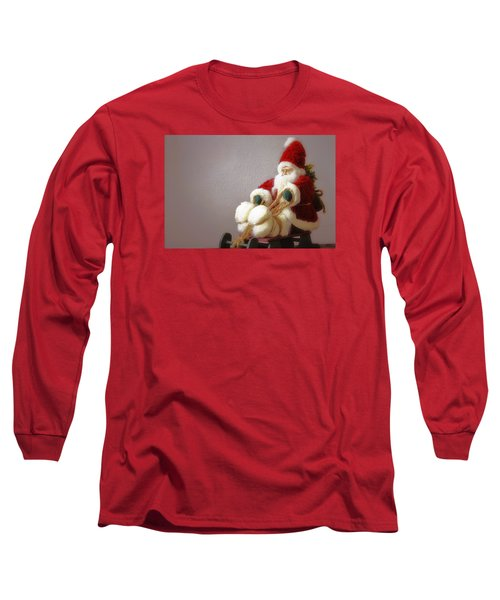 Santa Takes His Sled Long Sleeve T-Shirt by Nadalyn Larsen