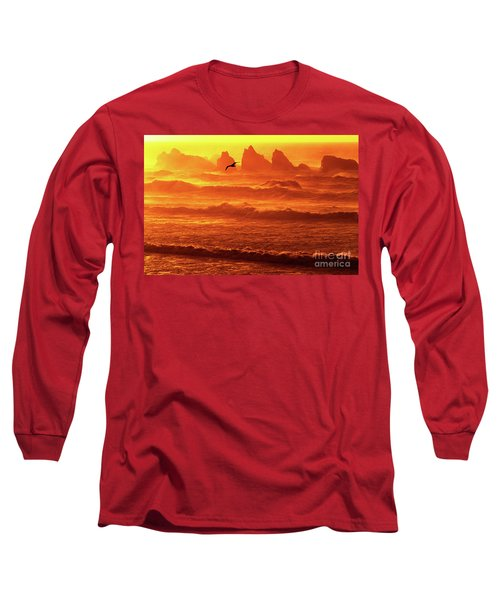 Long Sleeve T-Shirt featuring the photograph Seagull Soaring Over The Surf At Sunset Oregon Coast by Dave Welling