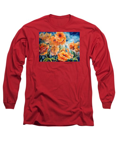 September Orange Poppies            Long Sleeve T-Shirt by Kathy Braud