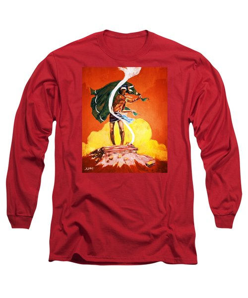 Long Sleeve T-Shirt featuring the painting Signal From The Mesa by Al Brown