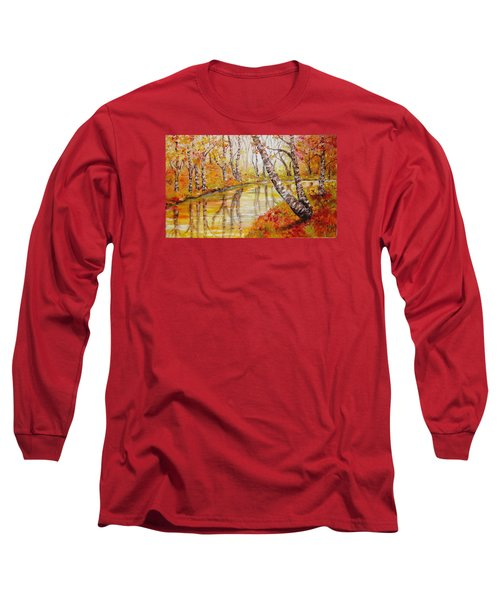 Long Sleeve T-Shirt featuring the painting Silence by Nina Mitkova