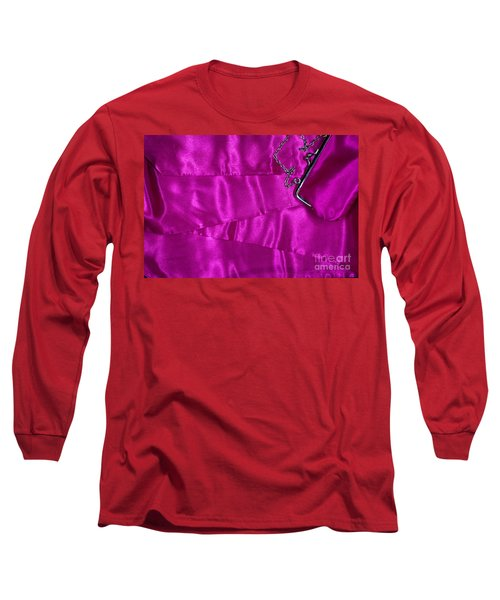 Long Sleeve T-Shirt featuring the photograph Silk Background With Purse by Gunter Nezhoda