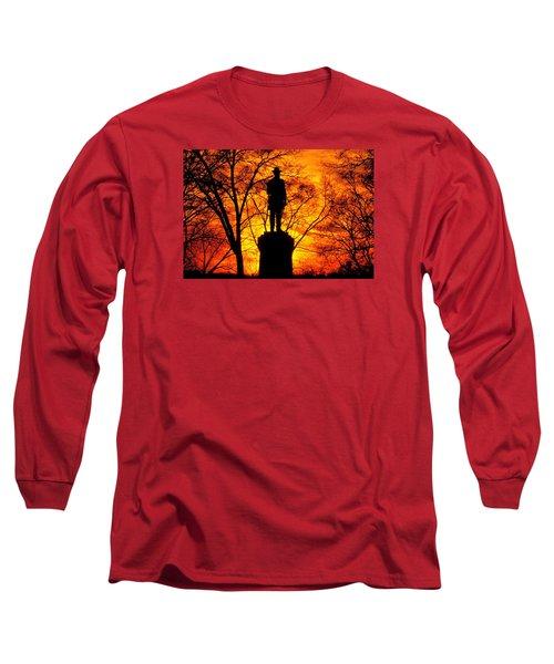 Long Sleeve T-Shirt featuring the photograph Sky Fire - Flames Of Battle 50th Pennsylvania Volunteer Infantry-a1 Sunset Antietam by Michael Mazaika