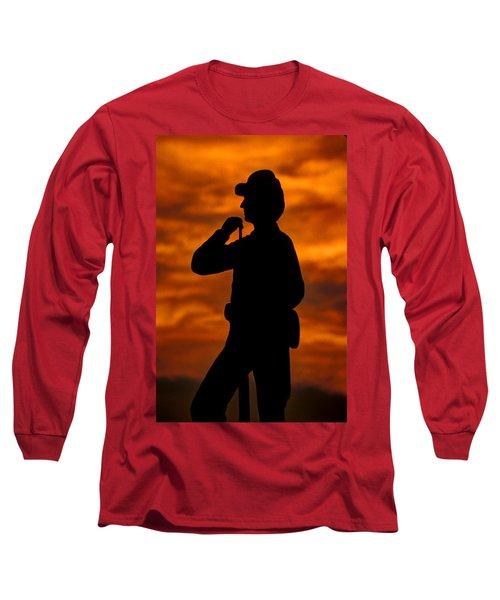 Long Sleeve T-Shirt featuring the photograph Sky Fire - Flames Of Battle 7th Pennsylvania Reserve Volunteer Infantry-a1 Sunset Antietam by Michael Mazaika
