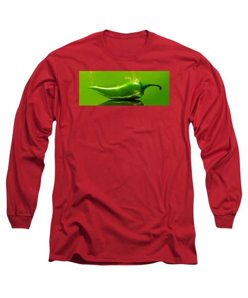 Long Sleeve T-Shirt featuring the photograph Smoke'n Hot Green Pepper  by Aaron Berg