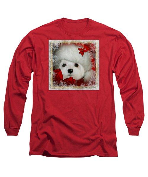 Snowdrop  And  Santa Hat Long Sleeve T-Shirt by Morag Bates