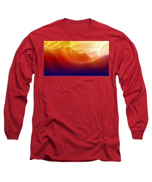 Long Sleeve T-Shirt featuring the photograph Somewhere In America Series - Colorful Light In Antelope Canyon by Lilia D