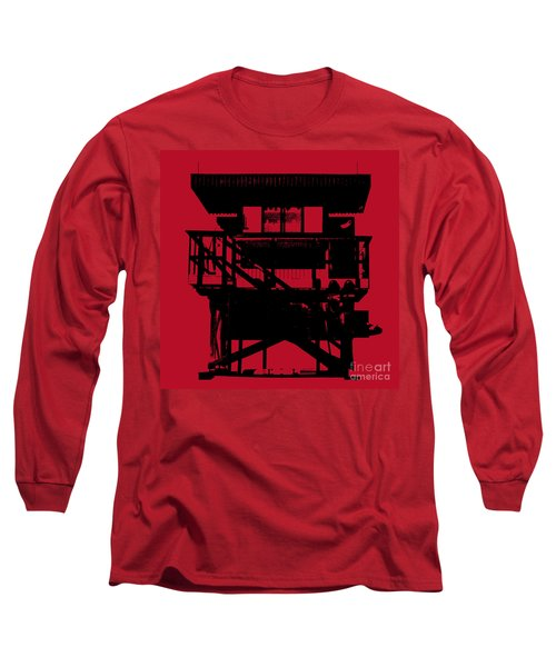 Long Sleeve T-Shirt featuring the digital art South Beach Lifeguard Stand by Jean luc Comperat