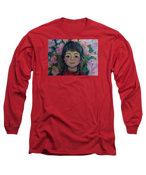 Long Sleeve T-Shirt featuring the drawing Spring Girls. Part One by Anna  Duyunova