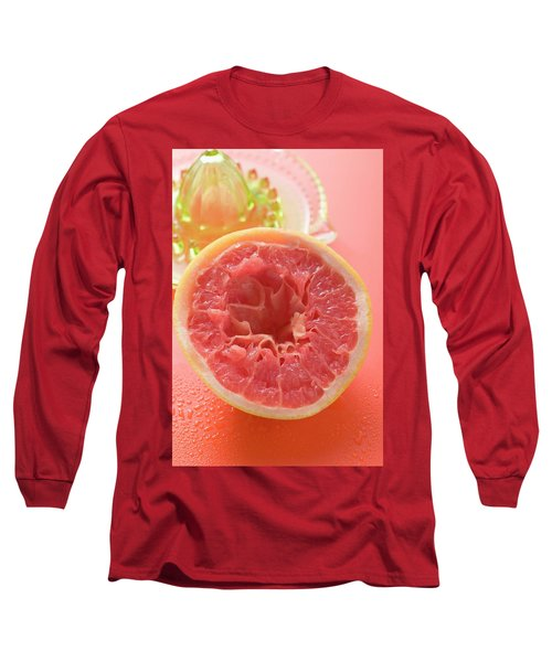 Squeezed Pink Grapefruit In Front Of Citrus Squeezer Long Sleeve T-Shirt
