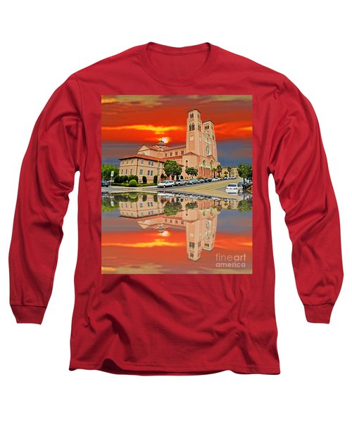 St Anne Church Of The Sunset In San Francisco With A Reflection  Long Sleeve T-Shirt by Jim Fitzpatrick