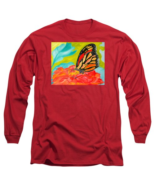 Stained Glass Flutters Long Sleeve T-Shirt by Meryl Goudey