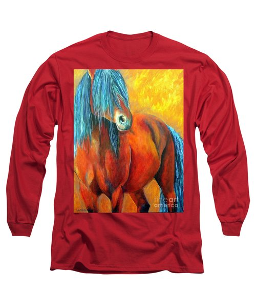 Long Sleeve T-Shirt featuring the painting Stallions Concerto  by Alison Caltrider