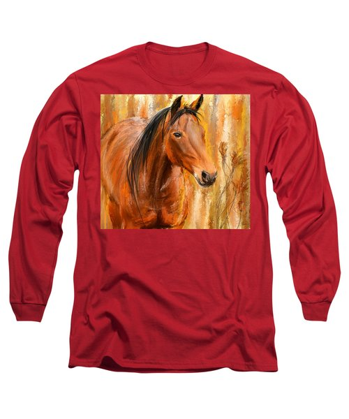 Standing Regally- Bay Horse Paintings Long Sleeve T-Shirt