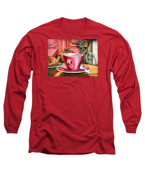 Long Sleeve T-Shirt featuring the painting Still Life With Green Dutch Bike by Mark Howard Jones