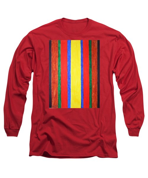 Long Sleeve T-Shirt featuring the painting Vertical Lines by Stormm Bradshaw