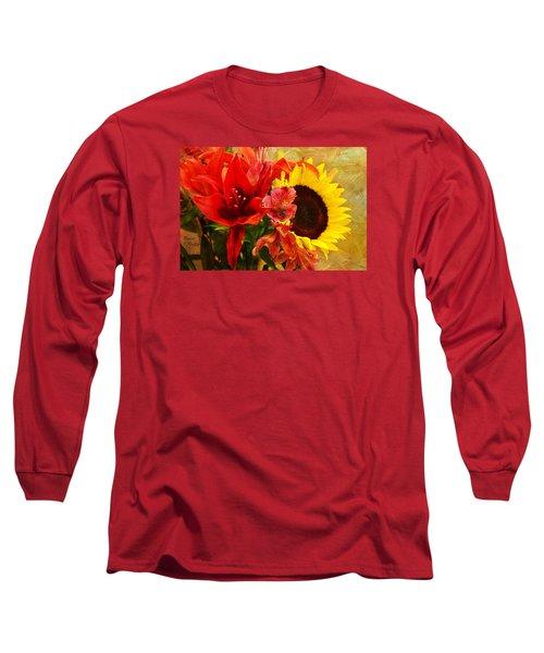 Sunflower Bouquet Long Sleeve T-Shirt by Sandi OReilly