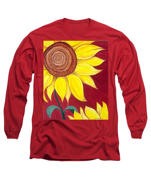 Sunflower On Red Long Sleeve T-Shirt