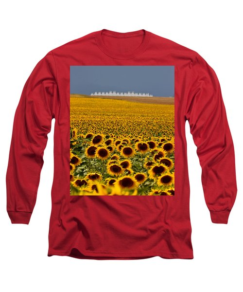 Long Sleeve T-Shirt featuring the photograph Sunflowers And Airports by Ronda Kimbrow