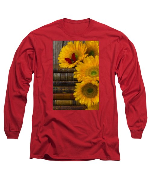 Sunflowers And Old Books Long Sleeve T-Shirt by Garry Gay