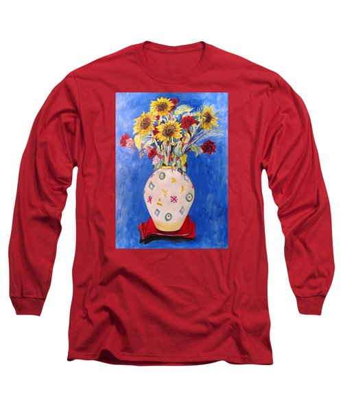 Sunflowers At Home Long Sleeve T-Shirt by Esther Newman-Cohen