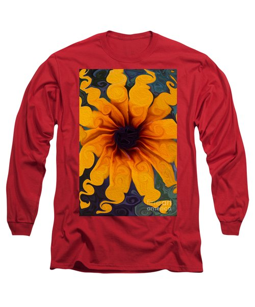 Long Sleeve T-Shirt featuring the painting Sunflowers On Psychadelics by Omaste Witkowski