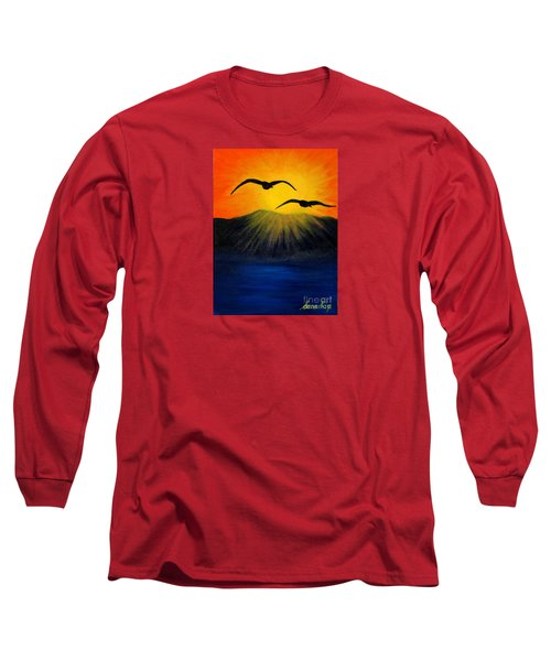 Sunrise And Two Seagulls Long Sleeve T-Shirt