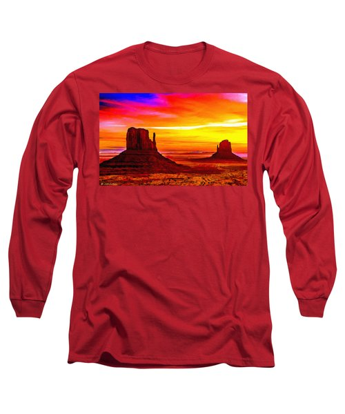 Sunrise Monument Valley Mittens Long Sleeve T-Shirt by Bob and Nadine Johnston