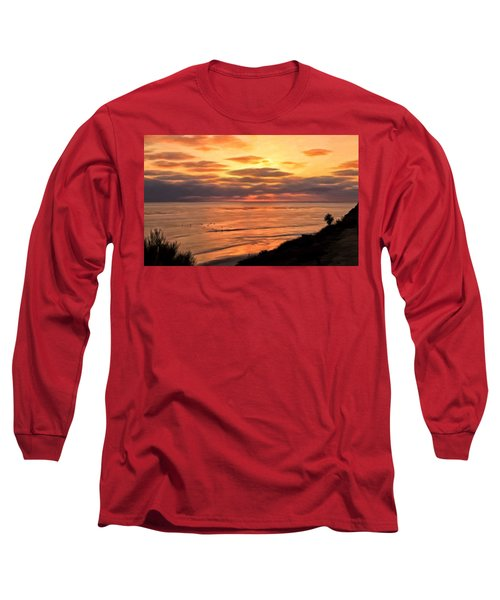 Long Sleeve T-Shirt featuring the painting Sunset At Swami's Encinitas by Michael Pickett