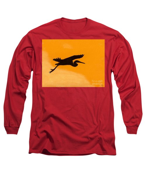 Long Sleeve T-Shirt featuring the drawing Sunset Flight by D Hackett