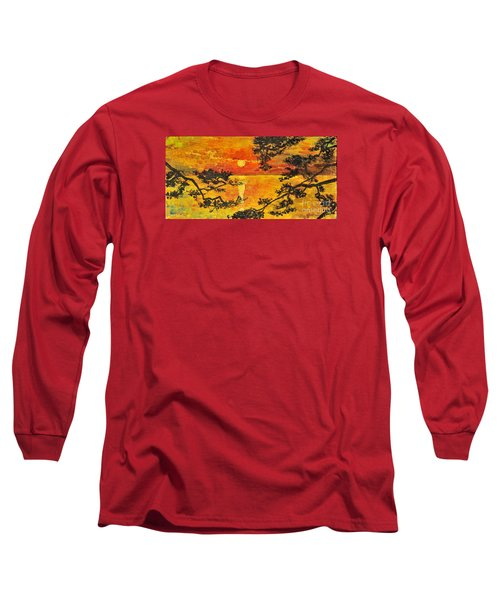 Long Sleeve T-Shirt featuring the painting Sunset For My Parents by Teresa Wegrzyn