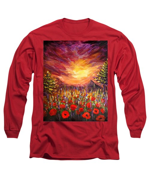 Long Sleeve T-Shirt featuring the painting Sunset In Poppy Valley  by Lilia D