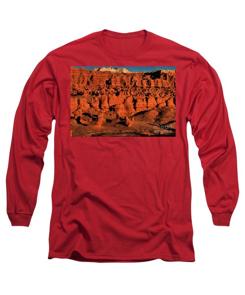Sunset Light Turns The Hoodoos Blood Red In Goblin Valley State Park Utah Long Sleeve T-Shirt by Dave Welling