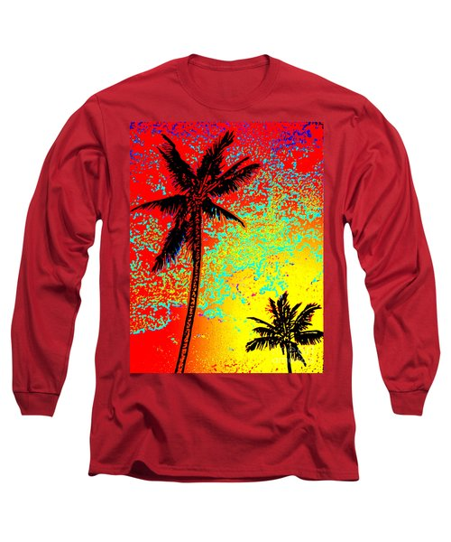 Long Sleeve T-Shirt featuring the photograph Sunset Palms by David Lawson