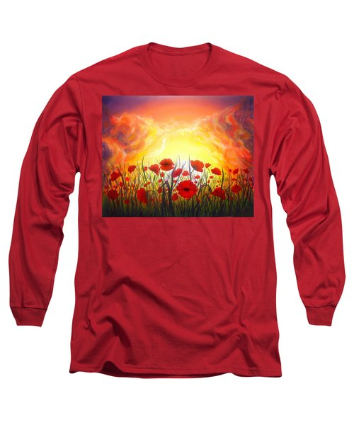 Long Sleeve T-Shirt featuring the painting Sunset Poppies by Lilia D