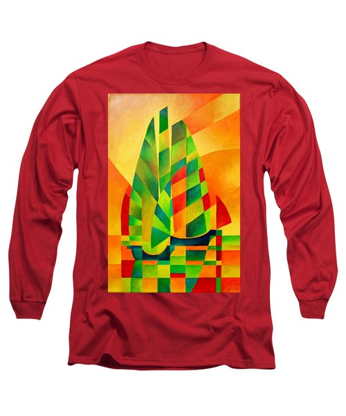 Long Sleeve T-Shirt featuring the painting Sunset Sails And Shadows by Tracey Harrington-Simpson