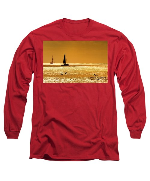 Surfers And Sailboats Long Sleeve T-Shirt by Kristine Merc
