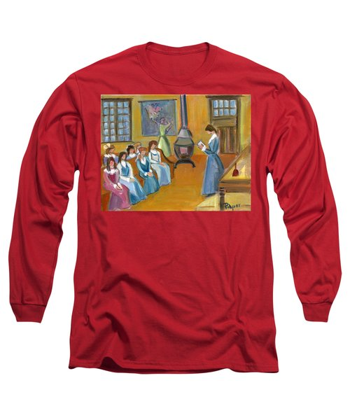 Long Sleeve T-Shirt featuring the painting Susan B. Anthony Teaching In Canajoharie by Betty Pieper
