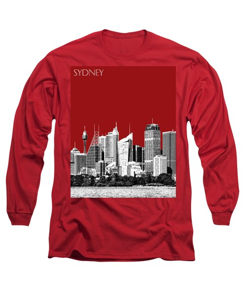 Sydney Skyline 1 - Dark Red Long Sleeve T-Shirt