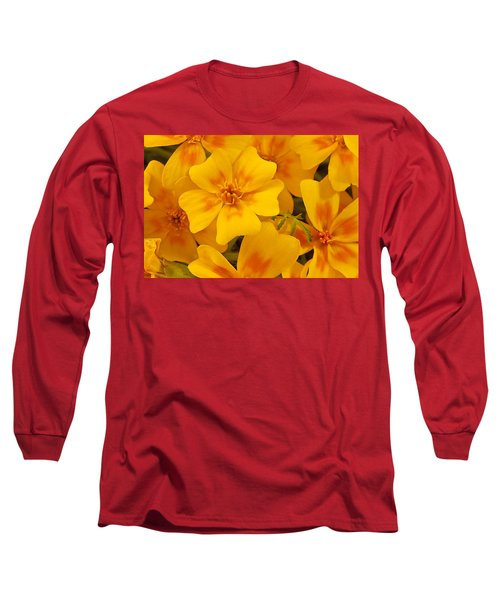 Long Sleeve T-Shirt featuring the photograph Tagette Marigold Blossoms Macro by Sandra Foster