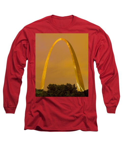 The Arch In The Glow Of St Louis City Lights At Night Long Sleeve T-Shirt by Garry McMichael