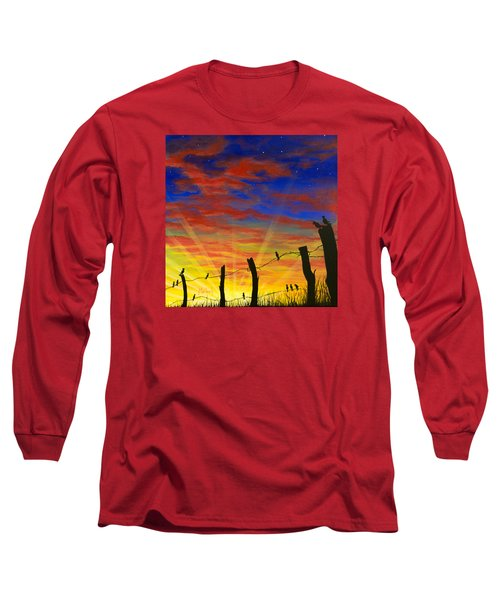 The Birds - Red Sky At Night Long Sleeve T-Shirt by Jack Malloch